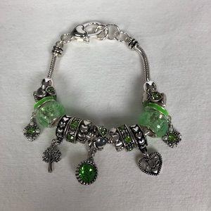New green charm bracelet